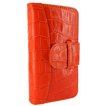 Great Sale Apple iPhone 5 / 5S Piel Frama Orange Crocodile Leather Wallet
