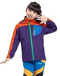 Makino Boy\'s/Gril\'s Hooded Waterproof Fleece Jacket 1247-3 Dark Purple and Orange Large