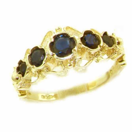 Solid 14K Yellow Gold Genuine Natural Sapphire Ring of English Georgian Design - Size 9.25 - Finger Sizes 5 to 12 Available - Perfect Gift for Birthday, Christmas, Valentines Day, Mothers Day, Mom, Mother, Grandmother, Daughter, Graduation, Bridesmaid.