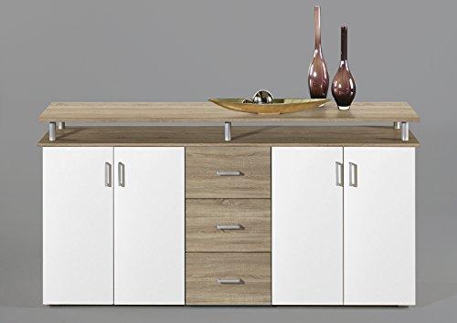 44-334-66-NEU-Highboard-Kommode-Sideboard-Eiche-Sgerau-Dekor-Weiss-LIFT-ca-180-cm-breit