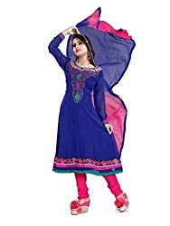 Parinaaz Blue Gorgette unstitched salwar suit dress materials