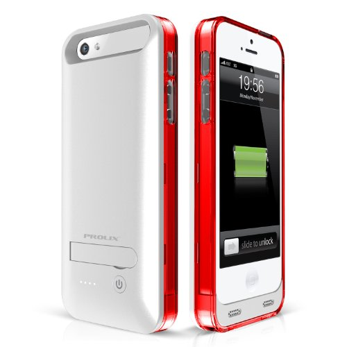 iPhone 5/5S Battery Case, Prolix Power iPhone 5/5s External Protective Battery Case / MFI Apple Certified / iOS 7 Compatible / Fits all versions of iPhone 5 & 5S (Silver/Red)
