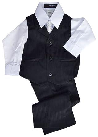 G280 Pinstripe Boys Formal Dresswear Vest Set (4, Black)