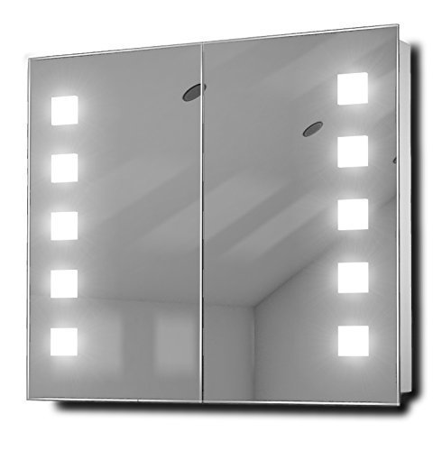 Vishnu Fluorescent Illuminated Bathroom Mirror Cabinet With Sensor & Shaver K123