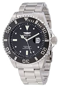 Invicta Pro Diver Model Men's Quartz Watch with Black Dial Analogue Display and Silver Stainless Steel Bracelet 12817