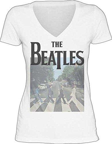 The Beatles Abbey Road Junior Donna V-Neck White Maglietta