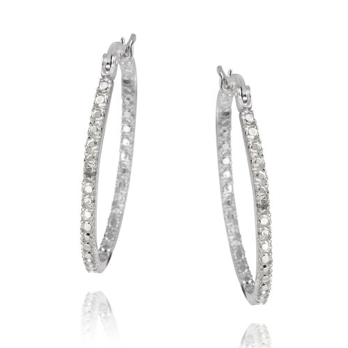 Sterling Silver Diamond Accent 33mm Oval Hoop Earrings