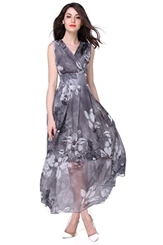 Joy EnvyLand Women V-neck Flower Prom Party Tunic Long Cocktail Beach Dress, Grey, Small