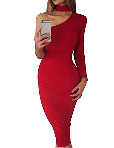 Allegrace Women Sexy One Shoulder Long Sleeve Bodycon Stretch Bandage Party Dress Red M