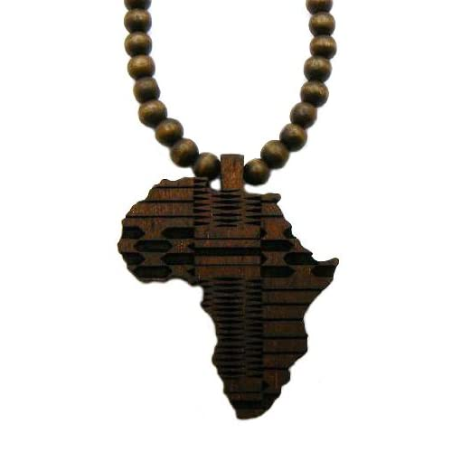 Wooden Africa Black Pendant And 36 Inch Necklace Chain