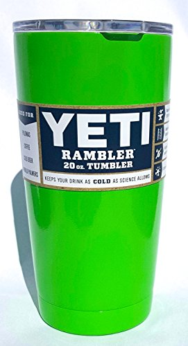 Yeti Rambler 20 Oz Tumbler, Stainless Steel, with Lid, Custom Colors (Lime Green)