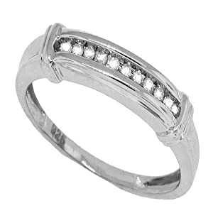0.08 ct TW Channel Set Womens Diamond Band,14kt Gold Plated Sterling Silver-6
