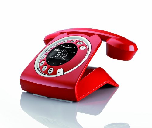 Sagemcom Sixty Digital Cordless Retro Style Telephone with Answering Machine - Red picture