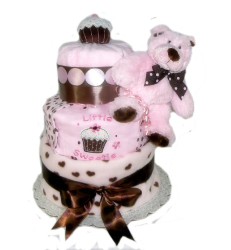 Sweet Baby Chocolate Cupcake - Pastel and Brown - Diaper Cake Gift Set (Pink/Brown)