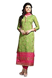 Fashionup Women's Cotton Ethnic Dress Material ( Green )