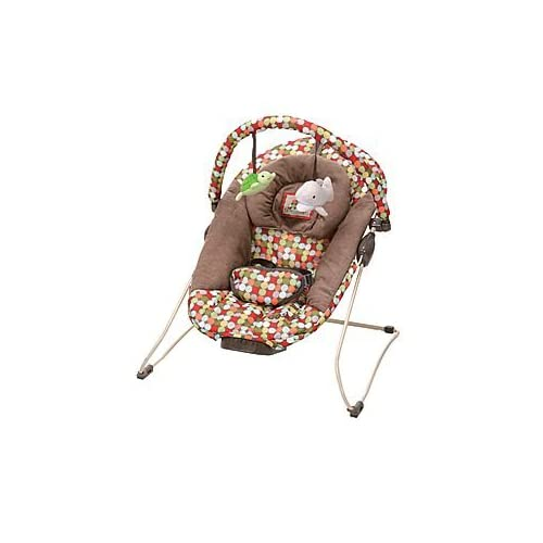 & Motion Vibration Infant Baby Bouncer Bouncy Seat Brown With Dots