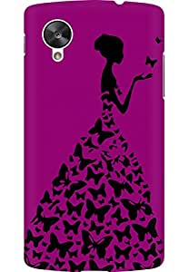 AMEZ designer printed 3d premium high quality back case cover for LG Google Nexus 5 (dark pink girl lady princess)