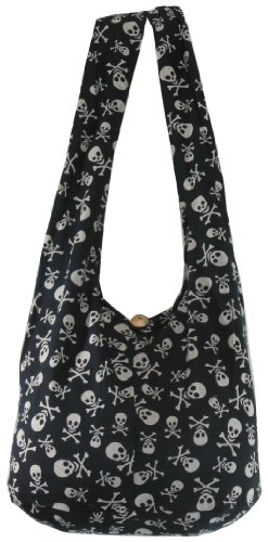 naluck-black-skull-goth-punk-purse-unisex-hippie-boho-hobo-crossbody-shoulder-messenger-bag-pk01