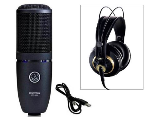 Akg Perception Usb 120 Usb Condenser Mic & K240S Studio Headphones Pkg