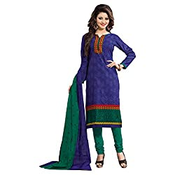 Rajnandini Women's Ethnic Wear Blue & Green Colour pure cotton Printed Unstitched salwar suit Dress Material (Free Size)