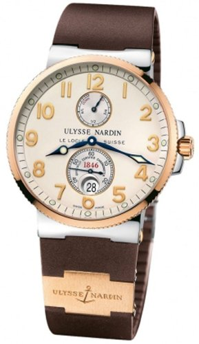 New Ulysse Nardin Maxi Marine Chronometer Steel 18K Rose Gold Brown Watch 265-66-3/60