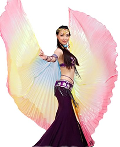 Dreamspell party colorful belly dance isis big wings(Blue,Yellow,Rose Red mixed).