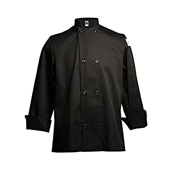San Jamar J061 Chef Revival 24/7 Poly Cotton Blend Long Sleeve Unisex Cool Crew Jacket with Black Pearl Bottons, 4X-Large, Black