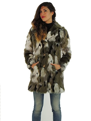 Patrizia Pepe cappotto donna pelliccia ecologica monopetto fantasia camouflage 2L0636A1PV (38, CAMOUFLAGE)