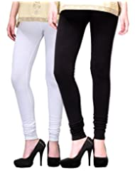 2Day Women's Cotton Churidaar Legging Black/White (Pack Of 2)