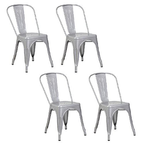 Belleze Set of (4) Vintage Style Dining Chairs Steel High Back Side (Silver) 3