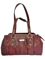 Zifana Leather Hand Bag Brown For Women - B00JHN2DYM
