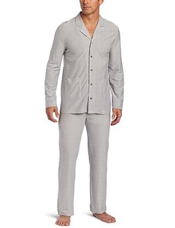 American Essentials Men's Organic Classic 2 Piece Pajama Set, Charcoal Stripe, Medium