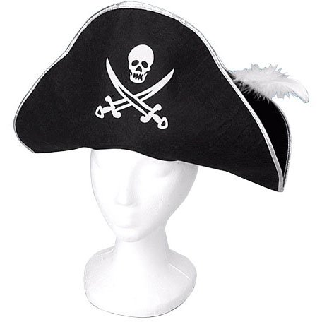 Skull and Crossed Swords Pirate Hat with Feather