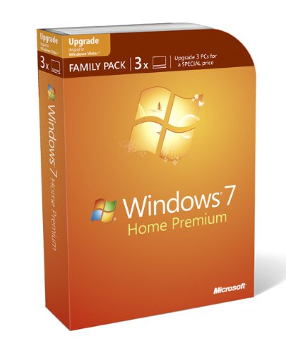 Microsoft Windows 7 Home Premium Upgrade Family Pack for XP or Vista users, 3 User Licence (PC DVD)