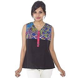 Parinita Women Black Cotton Solid With Printed Short Top_S