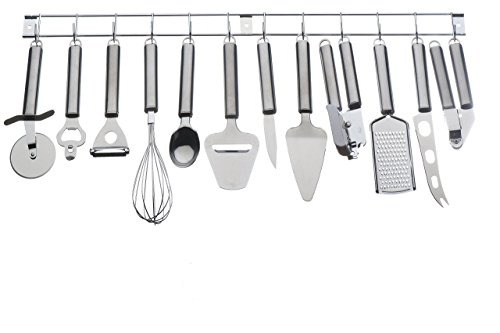 VonShef 12 Piece Stainless Steel Kitchen Utensils U0026 Gadget Set With Utensil  Hanging Rack / Bar