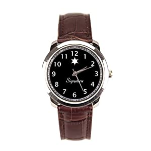 Dr. Koo Signature Brown Leather Watch Name Mens Watch Leather Strap