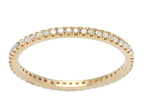 Yellow Gold 1/2ct Pave Eternity Diamond Wedding Band (G-H, I1-I2)