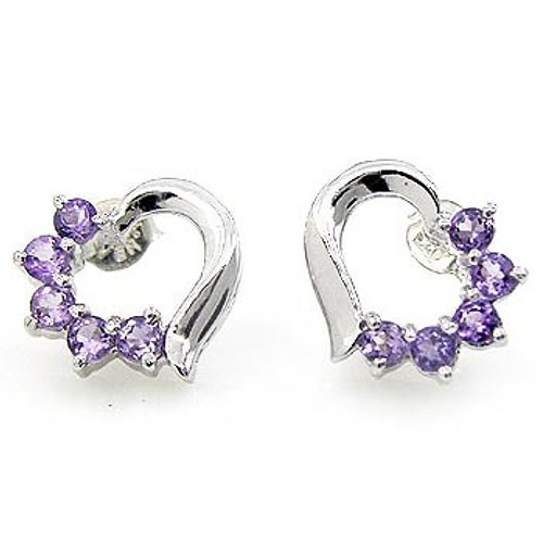 .925 Sterling Silver Amethyst Gemstone Heart Love Earrings