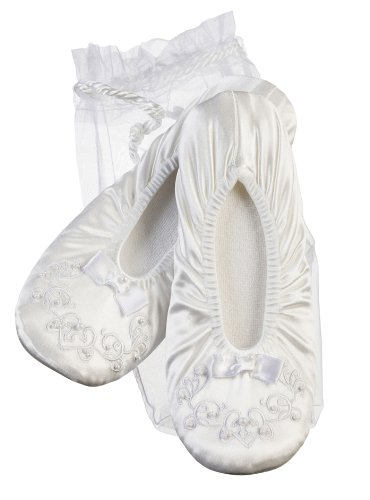 Darice VL1194W Flower Girl Ballerina Slippers Bead Trim Voile Bag, White