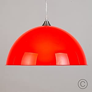 Modern Red Semi Transparent Dome Shade Designer Style Electrical Ceiling Pendant Light Fitting - Complete With Brushed Chrome Ceiling Rose And Flex from MiniSun