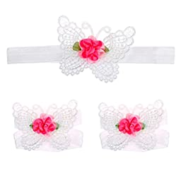 Voberry® 1 Pair Baby Infants Girls Butterfly Design Barefoot Sandals + Headband Set (White)