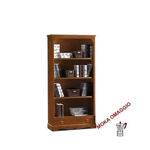 CLASSICO libreria noce 4 ripiani 1 cassetto legno massello camera soggiorno 312 94x36x189