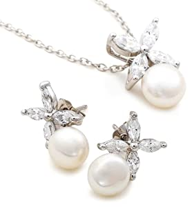 Platinum Plated Sterling Silver Freshwater Cultured Pearl Earrings and Pendant Necklace Set