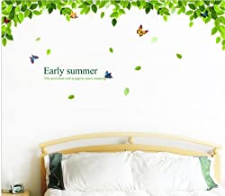 Beautiful Green Tree and Flying Butterflies Peel Stick Wall Decals