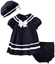 Rare Editions Baby Girls 3 Piece Navy Nautical Dress and Hat Set - 18 Months