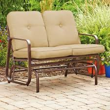 New Outdoor 2 Two Seater Swing Glider Patio Deck Bench Tan