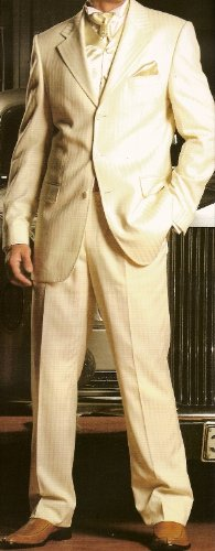 MUGA mens Wedding Suit, pants without pleats, Creme/Ivory, size 48R (EU 58)