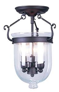Livex Lighting 5061-07 Jefferson 3 Light Bronze Bell Jar Semi Flush with Clear Glass