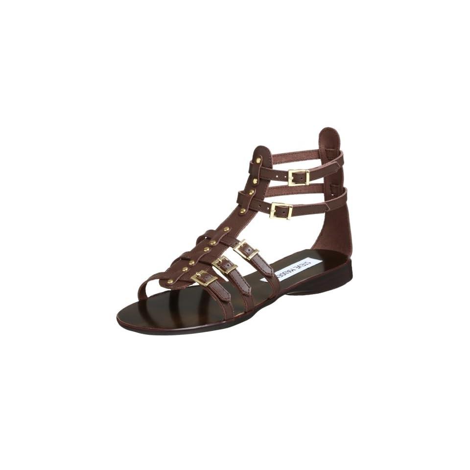 Steve Madden Womens Croww Sandal,Brown Leather,5.5 M US